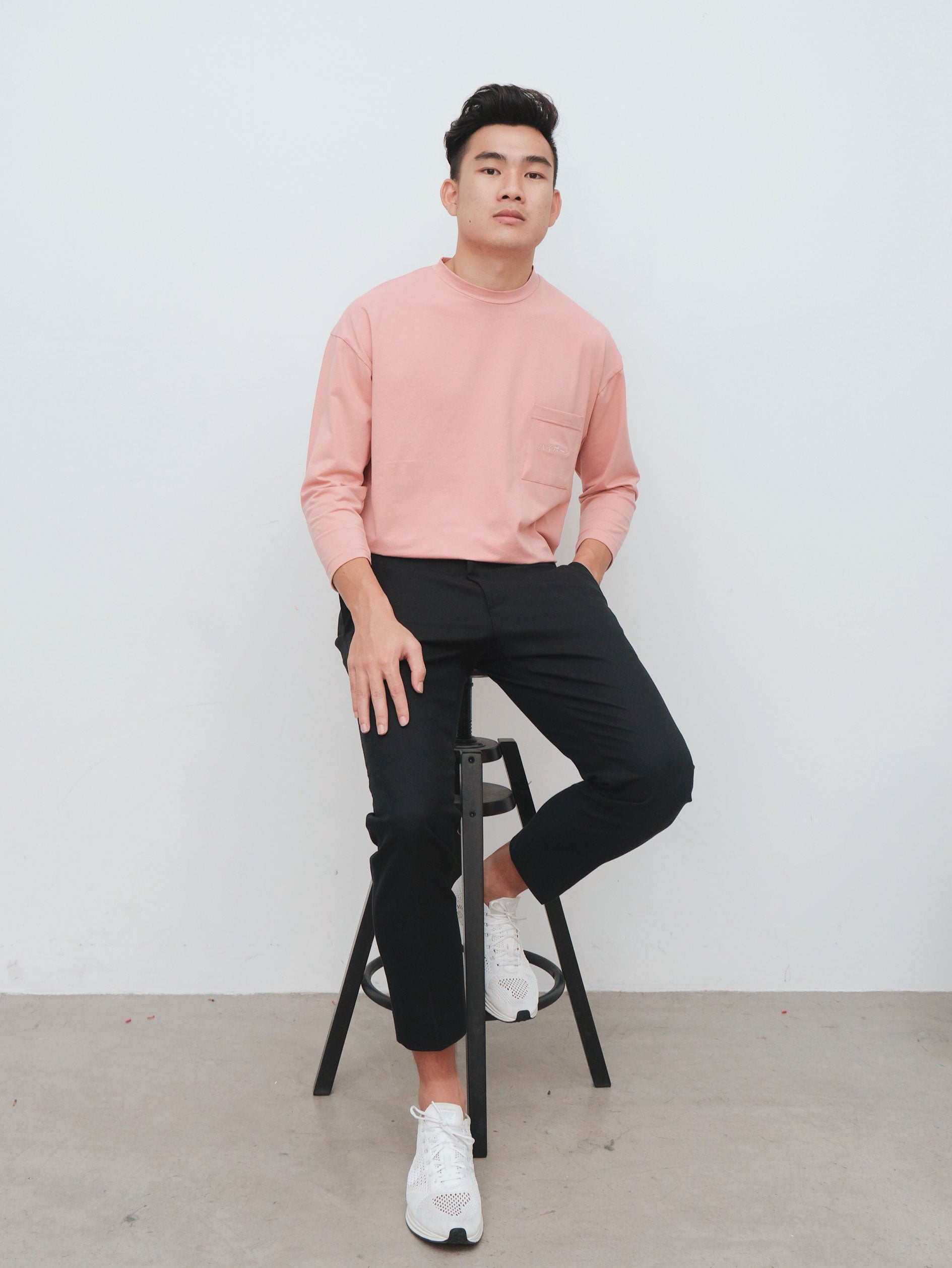Salmon Pink 3/4 Sleeve Oversized Tee - Highborn