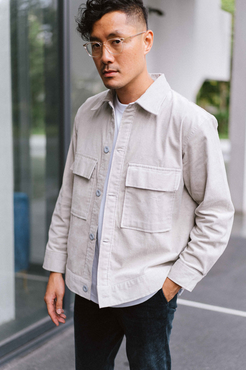 Owl Grey Corduroy Overshirt - Highborn