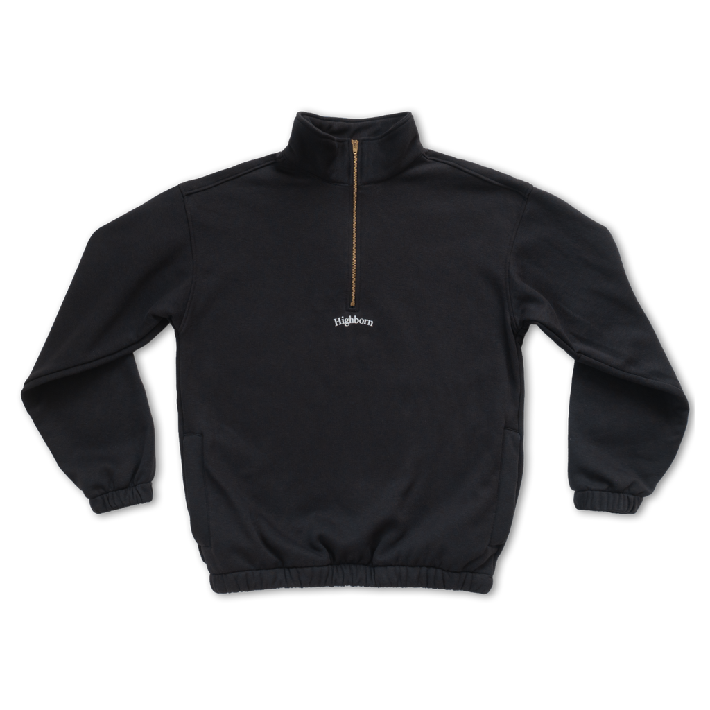 Off-Black Half-Zip Pullover - Highborn