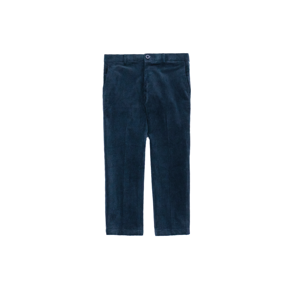 Prussian Blue Corduroy Cropped Pants - Highborn