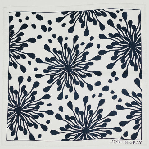 WHITE/NAVY ABSTRACT PRINT SILK POCKET SQUARE