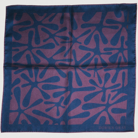 NAVY/BURGUNDY ABSTRACT PRINT SILK POCKET SQUARE