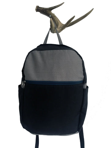 coal waxed canvas/grey denim zip backpack - latersupplyco.