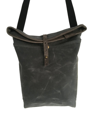 grey waxed canvas /grey leather small roll top tote - latersupplyco.