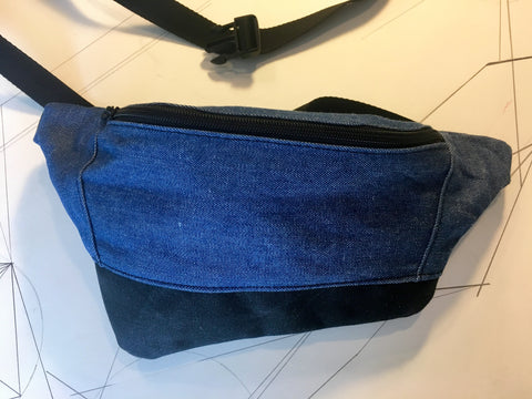 Denim/black waxed canvas zip fanny pack - latersupplyco.