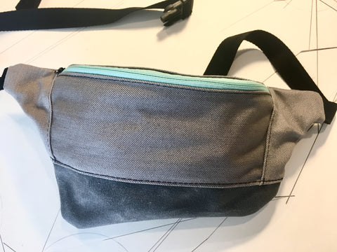 Grey denim/grey waxed canvas zip fanny pack - latersupplyco.