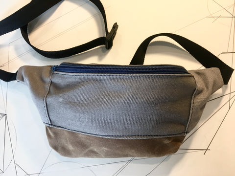 Grey denim/brown waxed canvas zip fanny pack - latersupplyco.