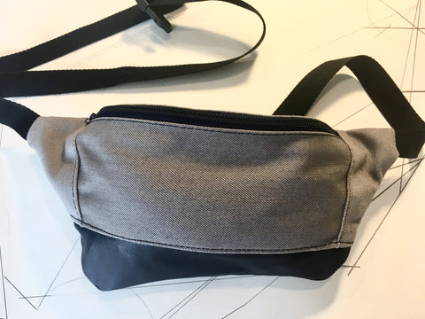 Grey denim/recycled navy leather zip fanny pack - latersupplyco.