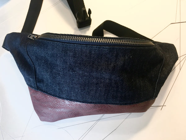 Dark denim/deep red vegan leather zip fanny pack - latersupplyco.