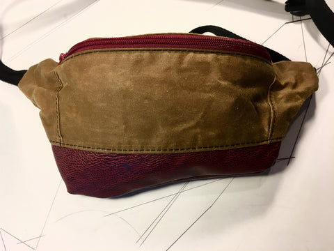 Whisky waxed canvas/deep red vegan leather zip fanny pack - latersupplyco.
