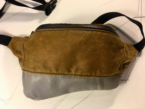 Whisky waxed canvas/grey leather zip fanny pack - latersupplyco.
