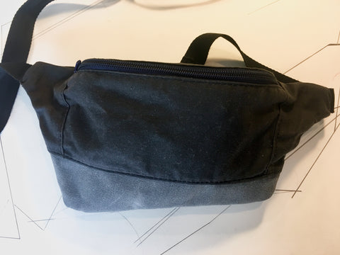 Coal waxed canvas/grey waxed canvas zip fanny pack - latersupplyco.