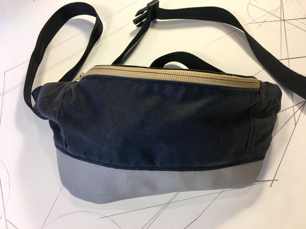 Coal waxed canvas/grey leather zip fanny pack - latersupplyco.