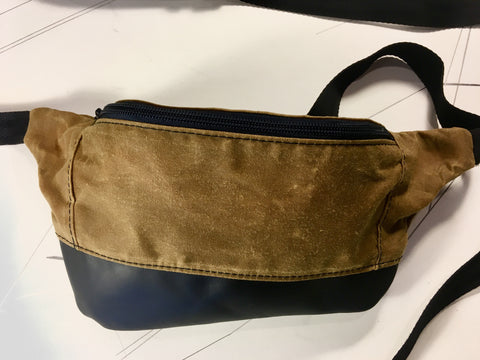 Whisky waxed canvas/ black leather zip fanny pack - latersupplyco.