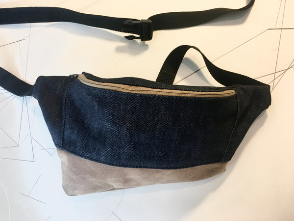 Dark denim/brown waxed zip fanny pack - latersupplyco.