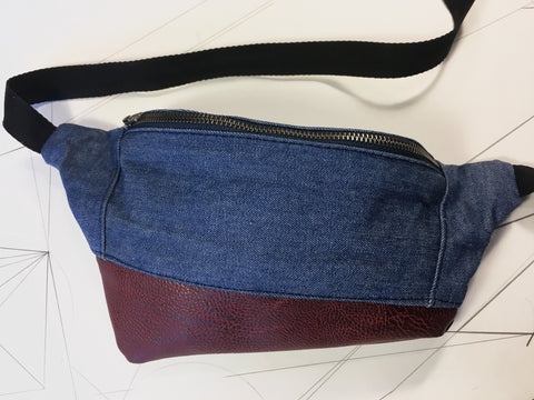 Denim/deep red vegan leather zip fanny pack - latersupplyco.