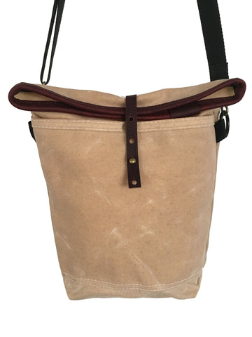 natural waxed canvas /deep red leather small roll top tote - latersupplyco.