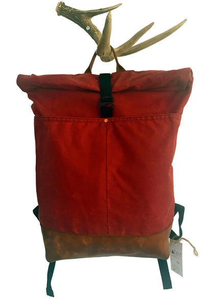 red waxed canvas/brown leather roll top backpack - latersupplyco.