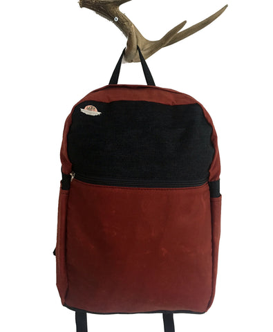 red waxed canvas/dark denim zip backpack - latersupplyco.