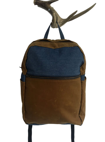 whisky waxed canvas/ denim zip backpack - latersupplyco.
