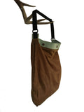whisky waxed canvas / mint leather sling bag - latersupplyco.