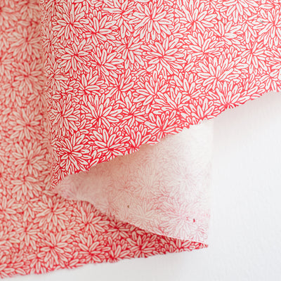 NL.FL.WR: Lokta Flower - White/Red - Kami Paper
