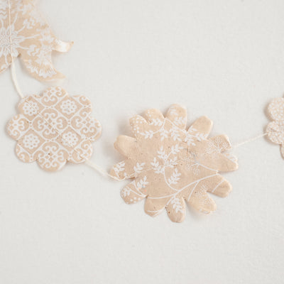 Nepalese Paper Garland: Flower - White/Natural - Kami Paper