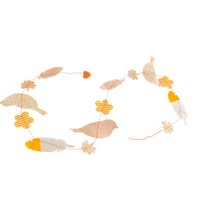 Nepalese Paper Garland: Birds - Orange - Kami Paper