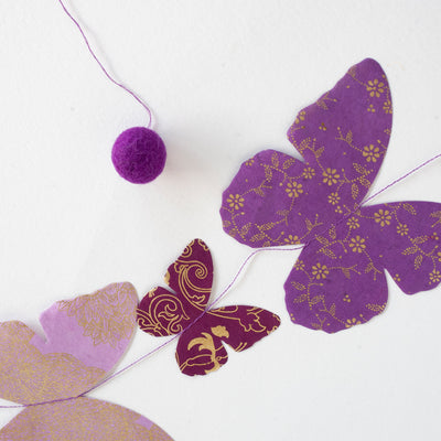 Nepalese Paper Garland: Butterfly - Purple - Kami Paper