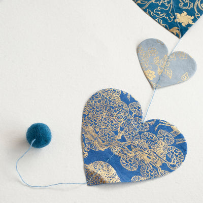 Nepalese Paper Garland: Heart - Blue - Kami Paper