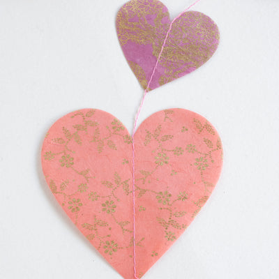 Nepalese Paper Garland: Heart - Pink/Purple - Kami Paper