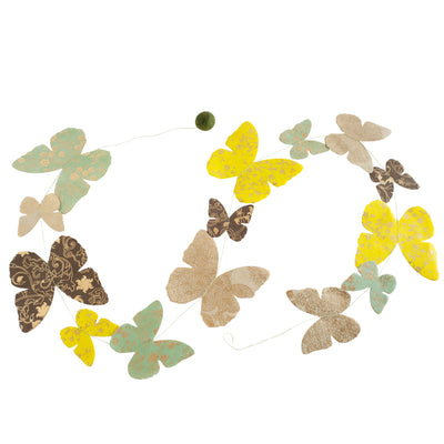 Nepalese Paper Garland: Butterfly - Green/Brown - Kami Paper