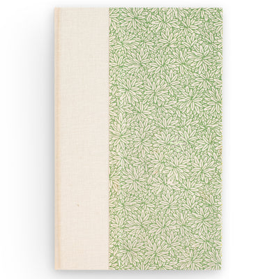 Art Ivory Hard Cover Journal (A5) -Lokta Flower White / Green, Journal, Kami - Kami