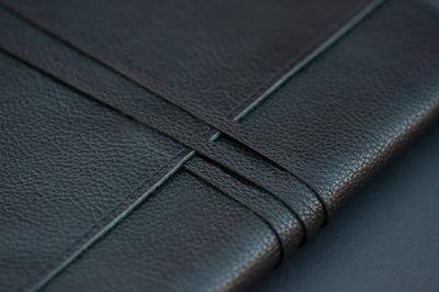KAMI Designed Leather Book / Journal Dust Cover - Black