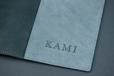 KAMI Designed Leather Book / Journal Dust Cover - Grey