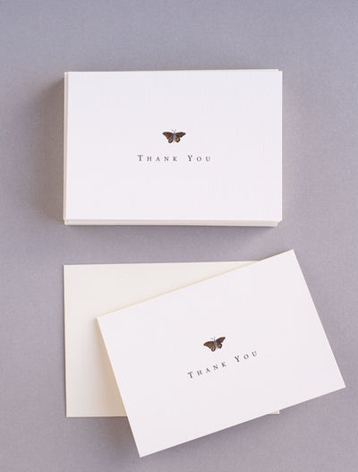 Note Cards | Box Set | Gold Butterfly Thank You