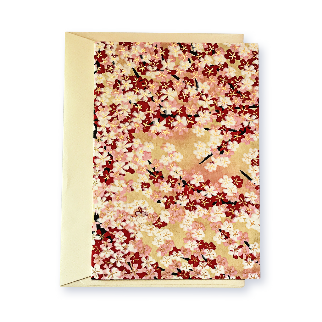 Classic Chiyogami Card (A6) - red and pink blossoms, Card, Kami - Kami