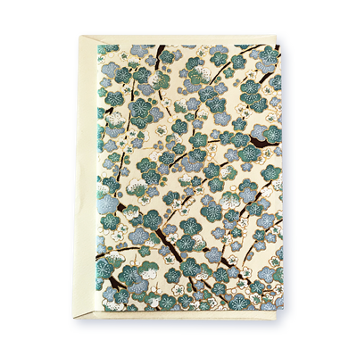 Classic Chiyogami Card (A6) - three shades of blue blossoms, Card, Kami - Kami