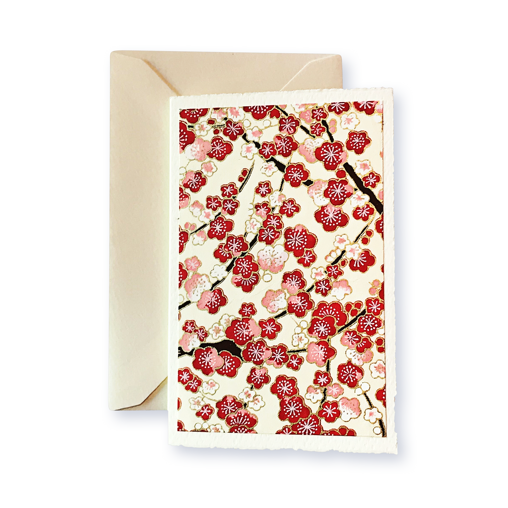 Ivory Card (A6) - red & pink blossom