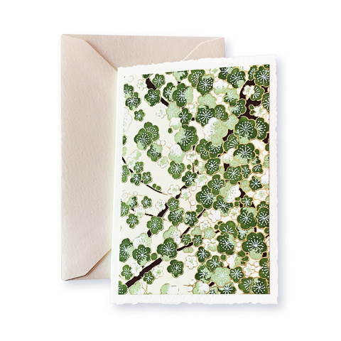 Ivory Card (A6) - olive & apple green blossom, Card, Kami - Kami