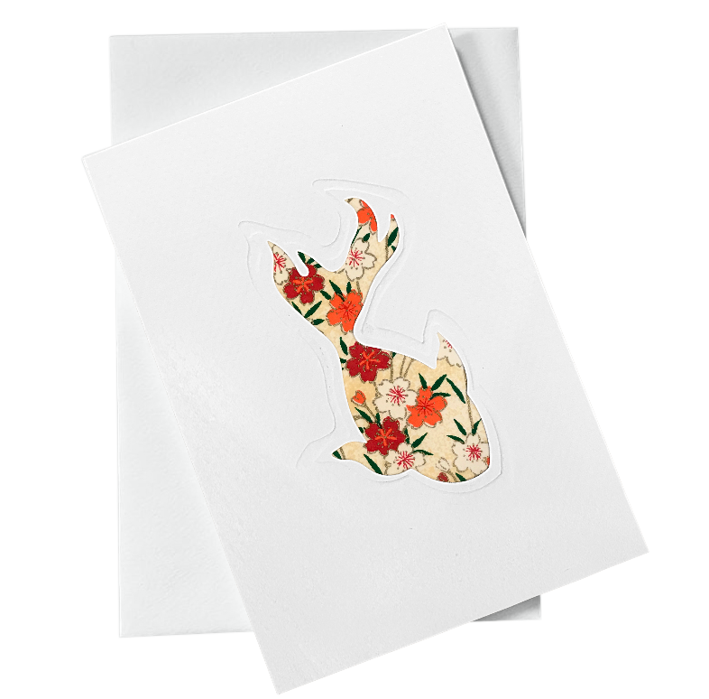 Cut Out Card (A6 - Fish_red flowers)