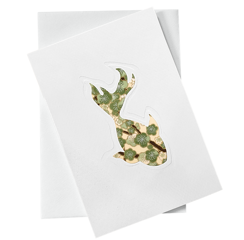 Cut Out Card (A6 - Fish_green flowers)