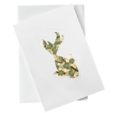 Cut Out Card (A6 - Fish_green flowers), Card, Kami - Kami