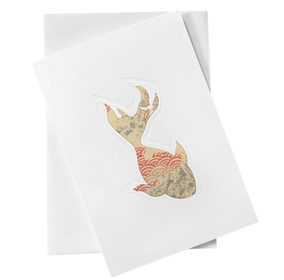 Cut Out Card (A6 - Fish_Red and Gold waves), Card, Kami - Kami