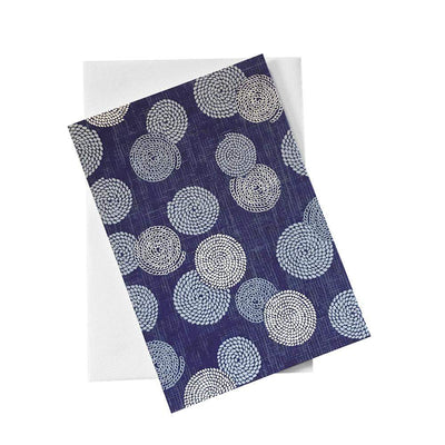 Classic Chiyogami Card (A6) - round patterns blue background, Card, Kami - Kami