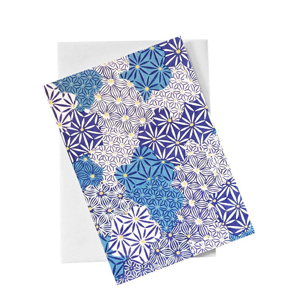 Classic Chiyogami Card (A6) - Shades of blue, Card, Kami - Kami