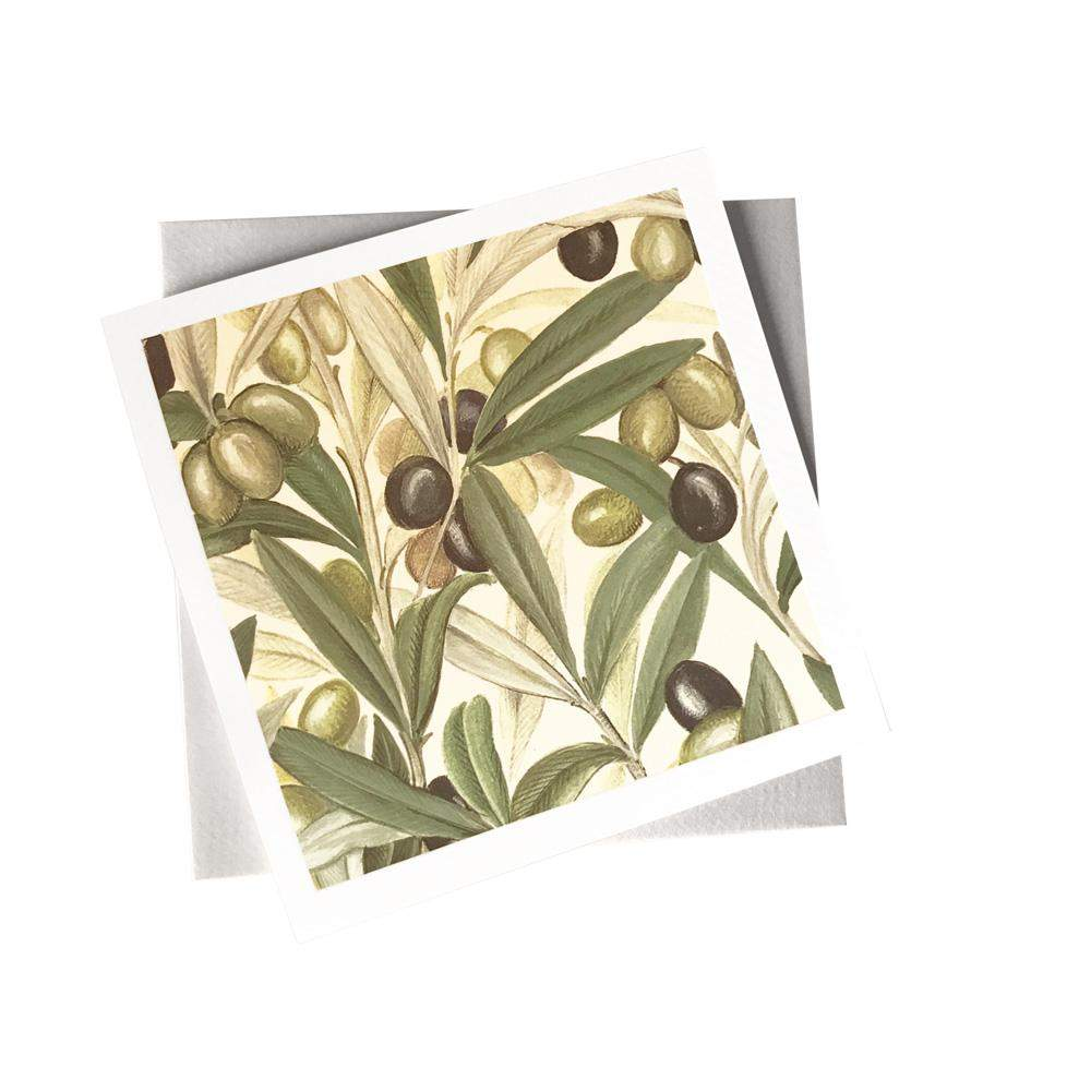 Ivory Card (155mm x 155mm) Black and Green Olives
