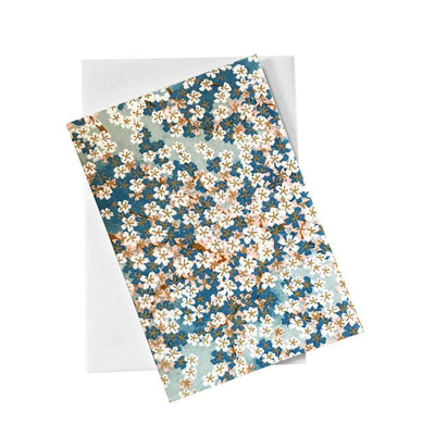 Classic Chiyogami Card (A6) - White flowers blue background, Card, Kami - Kami