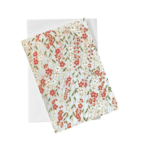 Classic Chiyogami Card (A6) - Red and white flowers, Card, Kami - Kami