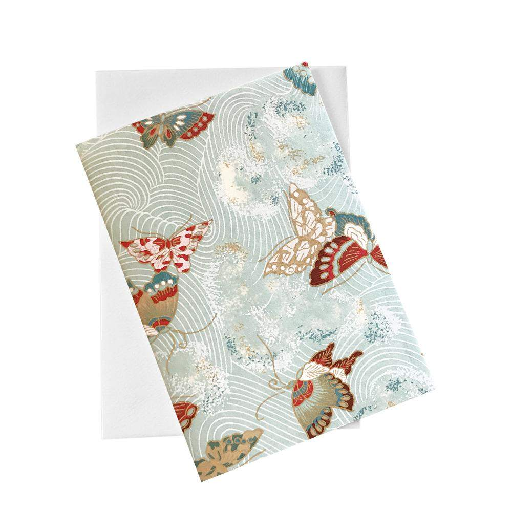 Classic Chiyogami Card (A6) - Butterflies with blue background, Card, Kami - Kami